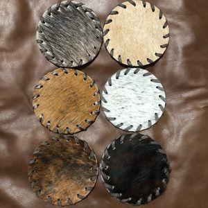 Set of 6 Cowhide Coasters